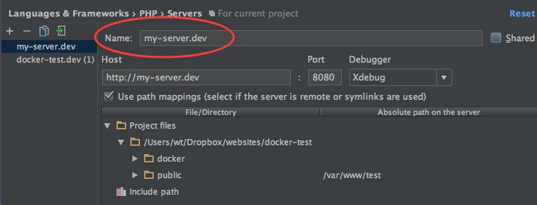 PhpStorm - configuring the server name